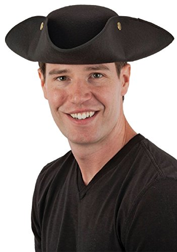 Tricorne Hat (Jacobson Hat Company Men's Tricorne Hat with Snaps, Black, Adult)