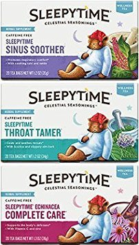 Celestial Seasonings - Sleepytime Wellness Tea Variety Pack - Sleepytime Sinus Soother, Throat Tamer, and Echinacea Complete Care - Bundle of 3 Teas