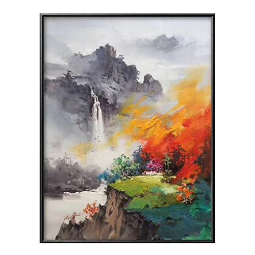 JASMINE CURTIS 100% Hand Painted Abstract Mountains Art Painting On Canvas Wall Art Wall Adornment Pictures Painting for Living Room Home Decor,(50X70cm) 20X28inch,H