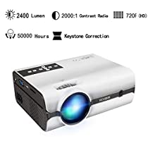 EZAPOR LED Mini Video Projector 2400 Lumen Support 1080 P Portable Projector for Home Theater Cinema Movie Entertainment Games Parties White