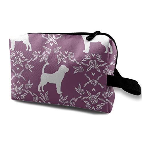 Bloodhound Silhouette Dog Breed Floral Amethyst_9751 Toiletry Bag Cosmetic Bag Portable Makeup Pouch Travel Hanging Organizer Bag For Women girl 10x5x6.2 inch