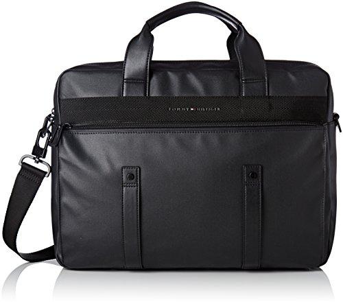 Tommy Hilfiger Herren Th Coated Computer Bag Tasche, Schwarz (Black), 10x30.5x40.5 cm