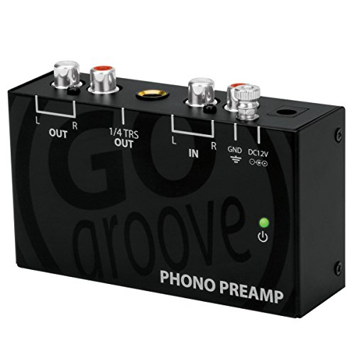 GOgroove Ultra Compact Phono Turntable Preamp (Preamplifier) with 12 Volt AC Adapter - Works With Audio Technica , Crosley , Denon , Jensen , Pioneer , Sony , Victrola , 1byone and More Turntables