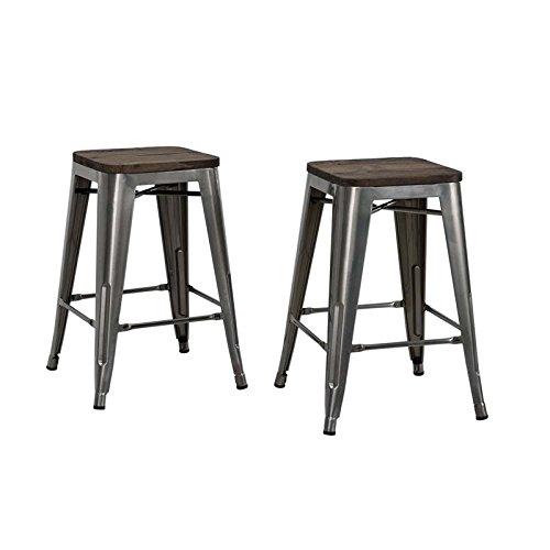 Wood Backless Bar Stools - 2
