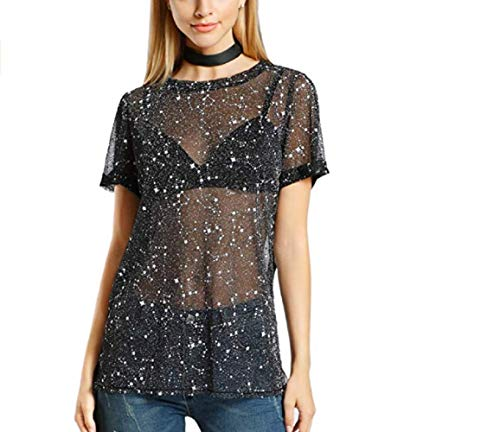 Women Sexy Glitter Star Mesh See Through Short Sleeves Top Tee Blouse Cover Up Tops -