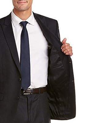 Calvin Klein Mens Slim Fit Wool Suit With Flat Front Pant, 40L, Blue