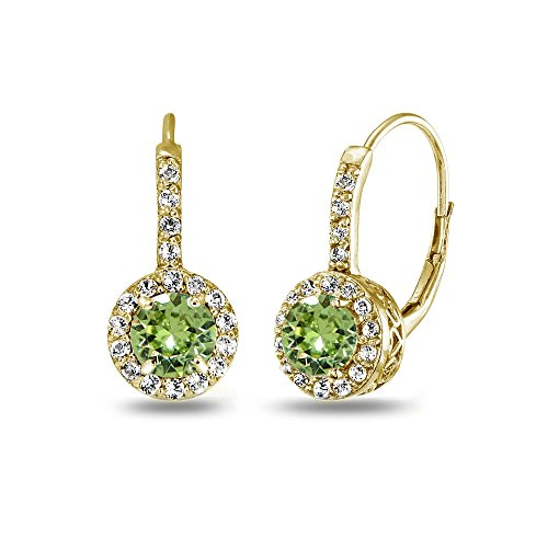 Yellow Gold Flashed Sterling Silver Light Green Halo Leverback Drop Earrings created with Swarovski Crystals