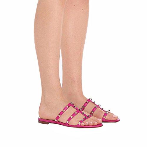 Comfity Muilezels Voor Vrouwen, Misstap Op Klinknagels Glijdt Rockstud Sandalen Backless Dress Slippers Rose
