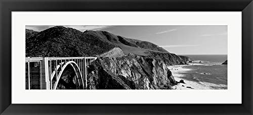 Bixby Creek Bridge, Big Sur, California by Panoramic Images Framed Art Print Wall Picture, Black Flat Frame, 42 x 19 - Sur Framed Big