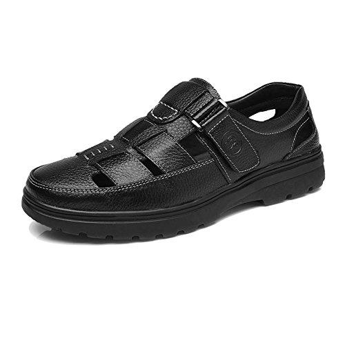 Cuero Piel Oveja Hombre clásico Blanda de Negro de Color Mocasines Perforación Genuino Yajie Hombre EU Corte Calzado Antideslizante 42 Transpirable 2018 para Zapatos shoes Negro Suela tamaño de de XqSzwTH6