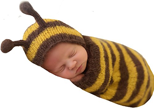 Melondipity Newborn Bumble Bee Knit Mohair Photography Prop Hat and Cocoon (Cap Toddler Bee Bumble)