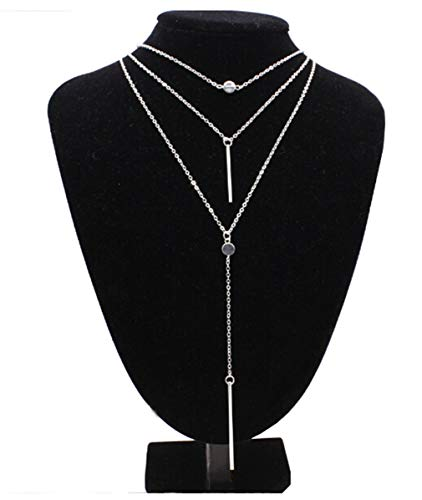 ain Necklace Simple Bar Pendant Necklace Center Long Lariat Chain for Women Jewelry ()