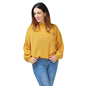 ZAFUL Women's Casual Loose Knitted Sweater Lantern Sleeve Crewneck Fashion Pullover Sweater Tops