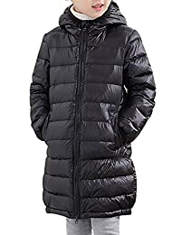KINDOYO Kids Down Puffer Jacket Coat Hood Fur Outfit Long Windbreaker Thick Warm