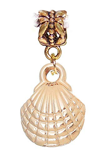 Scallop Shell Seashell Beach Gold Tone Dangle Charm for European Bead Bracelets Jewelry Making Supply by Wholesale Charms