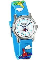 Kid's 3D Watch Japan Quartz Waterproof Cute Cartoon Rainbow Numeral Silicone Wristwatches (Blue fighter)