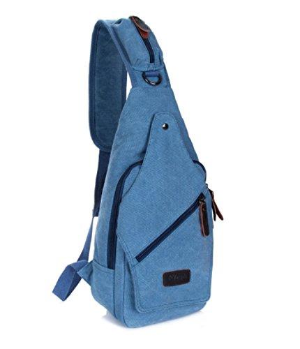 BULAGE Brustbeutel Männer Leinwand Mode Diagonal Freizeit Vielseitig Sport Schulter Einfach Praktisch Reise Blue RFo3HPKTn4