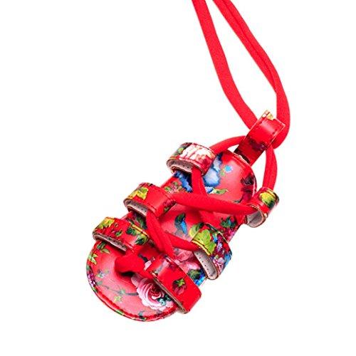 MuSheng Krabbelschuhe Babyschuhe Weiche Sohle Kleinkind Hausschuhe Sandalen für Mädchen Dunkel Rot