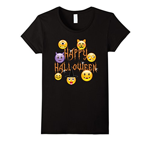 Womens Happy Halloween Scary Emoji Faces For Kids and Teens Medium Black