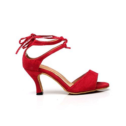BCLN Womens Open toe Sandals Latin Salsa Tango Heels Practice Ballroom Dance Shoes with 2.75 Heel Red a8LHUK
