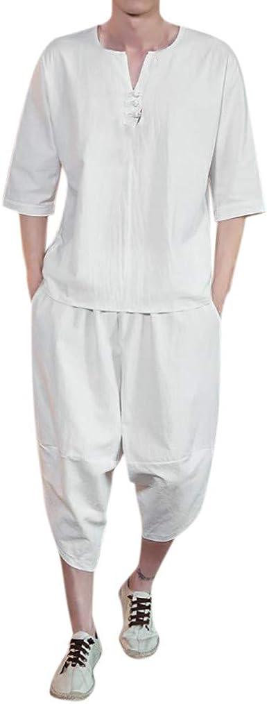 Conjunto Deportivo Hombre Talla Grande Verano Moda Camiseta de Manga Corta de algodón y Lino para Hombre Conjunto de Ropa de Hombre Camisa Henley de Lino y Pantalones Cortos: Amazon.es: Ropa y
