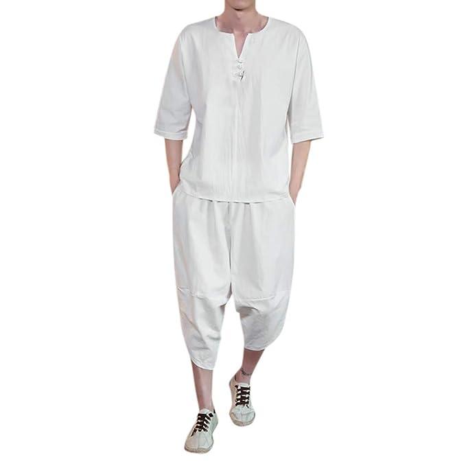 Yivise Traje de pantalón de Blusa de Estilo Chino para ...