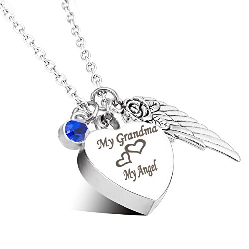 Engraved Personalised Cremation Urn Jewelry My Grandma My Angel Angle Wings Birthstone Pendant Memorial Ash Keepsake ()