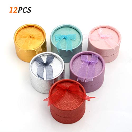 Adecco LLC 12 PCS Gift Boxes for Jewelry, Round Shape Earring Boxes, Small Ring Jewelry Boxes, 6 Assorted Color