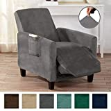 Form Fit, Slip Resistant, Stylish Furniture Shield/Protector Featuring Velvet Plush Fabric Magnolia Collection Strapless Slipcover (Recliner, Grey - Solid)