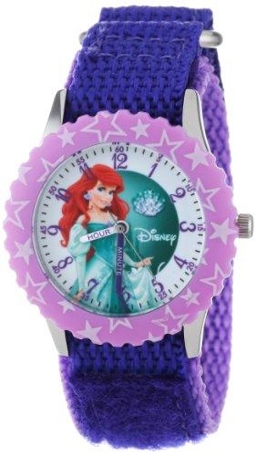 "Disney Kids' W000866 ""Ariel Time Teacher"" Stainless Steel Watch with Purple Nylon Band"