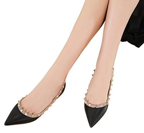 Rivets Studded On Black du Wedding Apricot Pointed Slip Women's Dress Shoe Jiu Soft Flats Pu Toe Shoes qtpE0