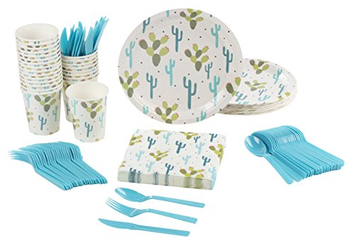 Disposable Dinnerware Set - Serves 24 - Cactus Party Supplies, Includes Plastic Knives, Spoons, Forks, Paper Plates, Napkins, Cups
