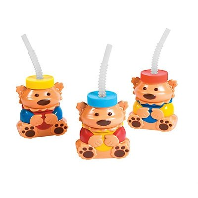 1st Birthday Bear Molded Cups with Straws & Lids 2 units