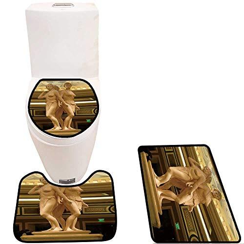Caesar Bathroom Vanity - Non-Slip Bath Toilet Mat Fountain of The Caesar Palace Resort Casino in Las Vegas. with High Absorbency
