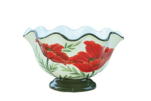 ... Decor Gift · Tuscany Floral Red Flower Poppy, Hand Painted Ceramic  Fruit Bowl Statement Piece For Kitchen Accessory ...