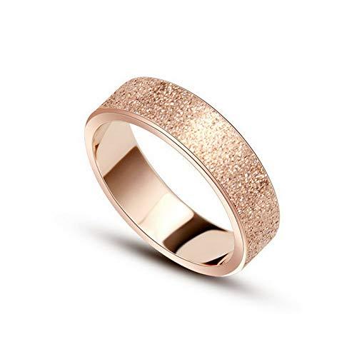 (Tomikko 6MM Titanium Steel Matte Band Womens 18K Rose Gold Wedding Party Ring Size 4-10 | Model RNG - 24973 | 4)
