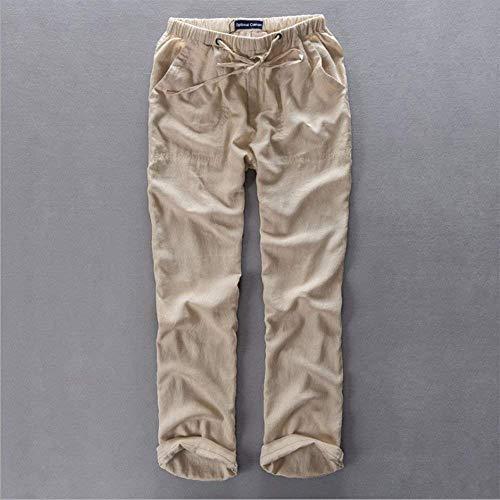 Lin Moderne Poches Kaki Avec Léger Taille Casual Plus Respirant 3xl Couleurs Long Pantalon Élastique Lâche 6 Hommes M rTSvqrIP