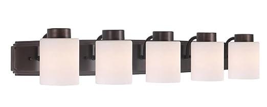 dolan designs westport 5 light bath bar satin nickel vanity lighting fixtures amazoncom