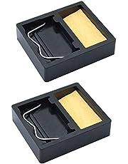 JaneYi - Soportes para soldador (2 unidades, rectangulares, con esponja de soldadura, para limpiar y apoyar la punta de hierro)