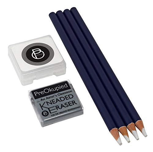 PreOkupied 4-Pack Art Eraser Pencils, Including 1 Kneaded Eraser and Case