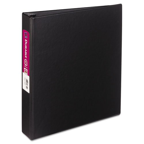Avery Products - Avery - Durable EZ-Turn Ring Reference Binder, 11 x 8-1/2, 1-1/2amp;quot; Capacity, Black - Sold As 1 Each - Unique EZ-TurnTM ring design for smoother page turning. - Gap FreeTM feature prevents ring misalignment. - Back-mounted rings allow pages to lie flat. - Two inside pockets store unbound materials so nothing gets lost. - Black vinyl interior.
