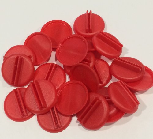 Plastic Card Stand (Red) to Hold up Playing Cards or Cardboard Marker Cut-outs: Set of 20 Red Color Round Board Game Playing Pieces (School Classroom Supplies, Arts & Crafts Projects, Teaching & Education Toy Resource Components, Extra Instructional Play Materials)