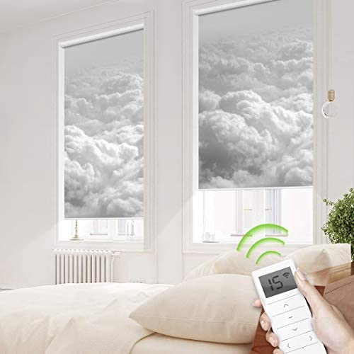 Motorized Window Roller Shade Remote Control Wireless and Rechargeable – Patterned Window Shades Blackout or Light Filtering Fabric for Home and Office Customized Size Cloud – Motorized
