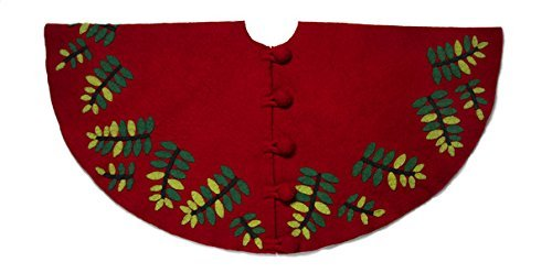 Arcadia Home TF43 Leaves Christmas Tree Skirt Hand Felted Wool , Red