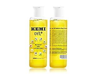 Kemi Oyl blend of ten 100% Vedic/herbal oils, with Vitamin A, B, C, E, D, Healthy hair, skin, heels & nails, Nourishes scalp hair roots, relieve pain, repairs cuticles & cracked heels, 100 ml