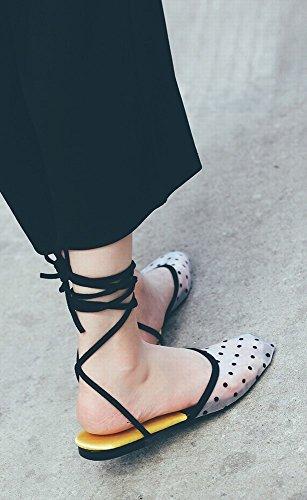 Romaine Chaussures Respirant Baotou 39 Blanc DHG Mesh Chaussures Femmes Sandales Dentelle Plates Croisé Mode Fil P4HwU1