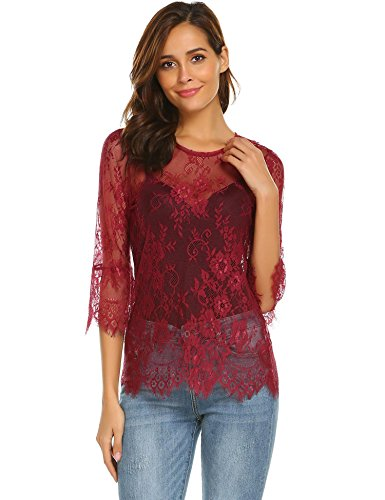 - Grabsa Women's See Through Shirt Scallop Trim Bell Sleeve Sheer Floral Lace Blouse Wine Red XL