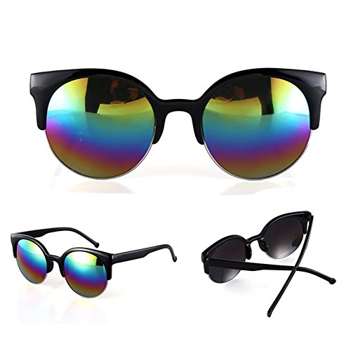 Fashion Retro Vintage Oversized Cat Eye Sunglasses Round Black Unisex Designer BY MEXUD (Multicoloured, - Cici Sunglasses