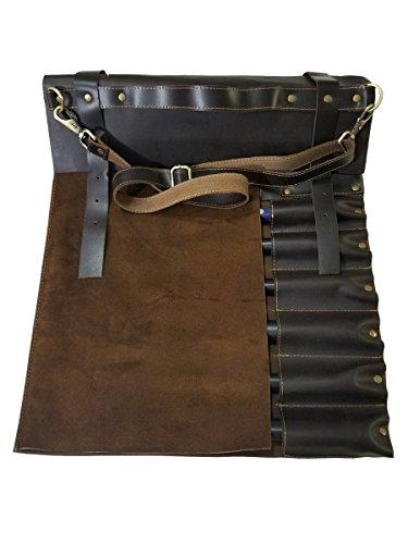 Professional Chef Lightweight Genuine Premium Dark Brown Leather 8 Pockets Chef Knife Bag/Chef Knife Roll by luvsecretlingerie