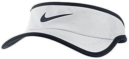 Nike Unisex Featherlight Adjustable Visor Hat, White/Black (Womens Hat Light Feather)